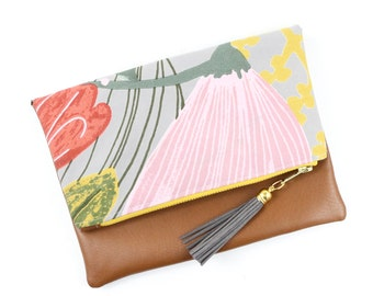 Boho Tassel Clutch in Gray and Blush Pink Floral Print and Tan Vegan Leather and Gold zipper close