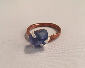 Hammered copper and silver ring with Fluorite size 7 adjustable