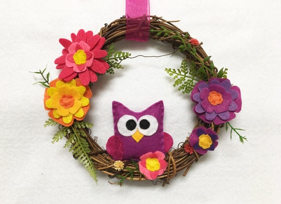 Owl Wreath, Summer Wreath, Purple and Pink, Grapevine, Spring Door hanger, Hostess Gift, Housewarming, Wall Art, Wall Hanging