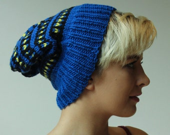 Hand Knit Comfy Blue, Black and Yellow Hat