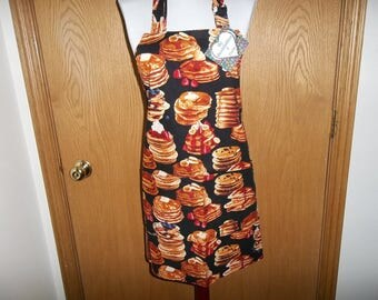 Pancake Breakfast Apron, Women's Full Apron, Chefs Apron, Cooking Apron, Reversible Apron Front Pocket, Adjustable Neck Strap, Handmade Gift