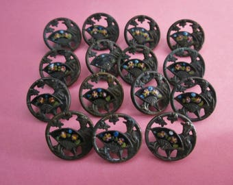 Antique Metal and Enamel Buttons picture buttons Geisha with Fan Buttons