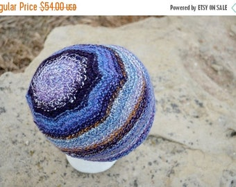 May Sale - 20% off Purple Jupiter Hat - Handspun Striped Hat in Eggplant, Royal Purple, Gold, Cream, Blue - One of a Kind Loose Fit Light Kn