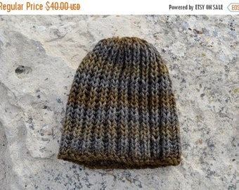 May Sale - 20% off Olive & Earth Hat - Hand Knit Hat in Earthy Browns and Grey - Hand Knit Sparkle Hat,  Knit Textured Beanie. Ready to ship