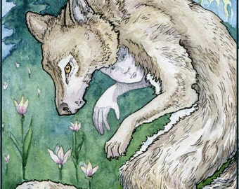 Six of Flame - woodland wolf childl 5x7 print from The Stolen Child Tarot