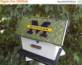 ON SALE Michigan Wolverines License Plate Football  Birdhouse White Fully Functional