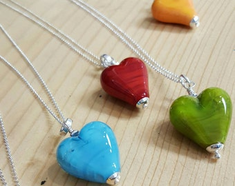 Handmade Lampwork Glass Heart with Sterling Silver Chain