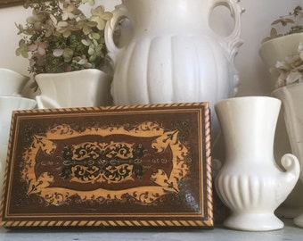 Vintage Marquetry Trinket or Jewelry Box, Beautiful Inlaid Wood