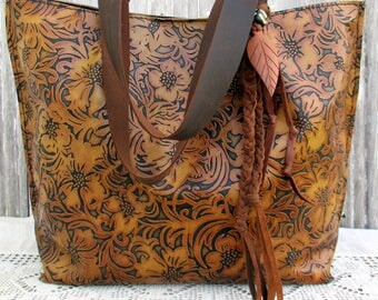 "RESERVED for Mirela Leather Tote Bag in Embossed ""Tooled"" Leather by Stacy Leigh"