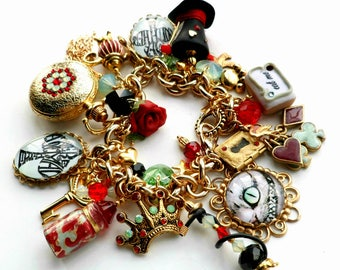 Alice in Wonderland Red Green Opal and Gold Watch Charm Bracelet