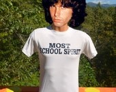 vintage 90s t-shirt most SCHOOL SPIRIT funny superlative award cheer tee Small wtf