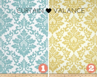 Window Valance/Curtain Valance/Window Topper/Kitchen/Bedroom/Bath/Straight/Curved-LINED-Valance, Aqua or Safron Yellow Premier Prints Fabric