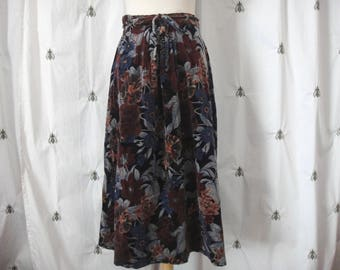 Vintage Floral Velvet Midi Skirt, by Panther, Burgundy, Blue, Size Small, Tie Belted Waist, Romantic