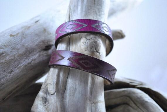 Aztec design leather bracelet Thin, birthday gift, for Women, Men, Kids