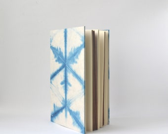 Hand Dyed Indigo Journal with Reclaimed Leather, Blue & White Handbound Sketchbook with Hand Dyed Covers
