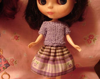 Blythe Vintage Plaid Fabric Skirt for Pullip and Vintage Skipper Too!