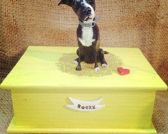 Personalized Pet Urn clay folk art sculpture or memorial based on your pets photo Large flat top
