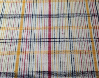 Osnaberg Kettle Cloth Vintage Plaid Fabric - 1 3/4 Yards- Vintage Kettle Cloth / Vintage Osnaberg / Vintage Cotton / Vintage Fabric