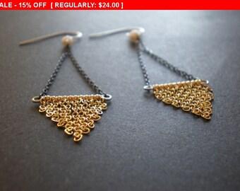 Boho Fringe Triangle Earrings Geometric Chain Design Gold Chandelier Earrings Winter Holiday Jewelry New Year's Eve Earrings Chevron Earring