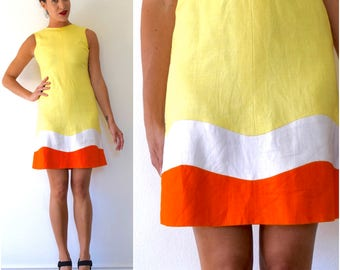 SUMMER SALE/ 30% off Vintage 60s Make Lemonade Yellow Linen Orange and White Striped Shift Dress (size xs, small)