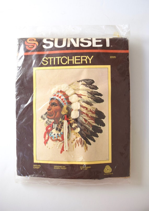 Vintage 70s Sunset Stitchery Native American Chief Embroidery Kit