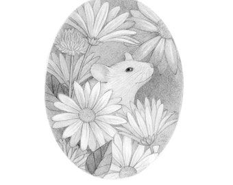 Mouse Flowers Original Drawing Art Pencil Black and White Nature Cute