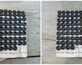 Vintage Antique 1890 /1900 French Victorian black  buttons on card set of 52