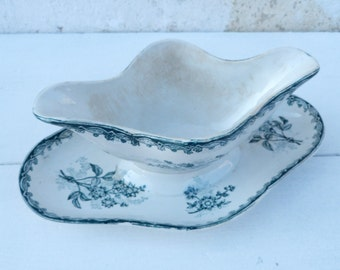 Vintage French  1900  Saint Amand  Margot transferware  Floral pattern  sauce boat