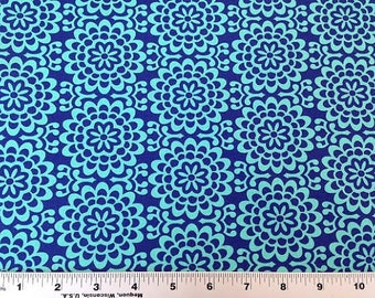 HALF YARD - Amy Butler Fabric, True Colors Collection, Wallflower in Marine Blue - SALE