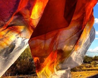 Belly dance costume silk veil rectangle promo SEDONA Lost Dutchmans Gold copper henna