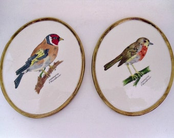 2 Vintage Goebel Bird Wall Plaques Goldfinch & Robin, F Kirchner West Germany