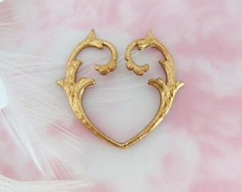 BRASS (2 Pieces) Open Heart Branch Stampings - Jewelry Findings ~ Brass Stamping (E-543)