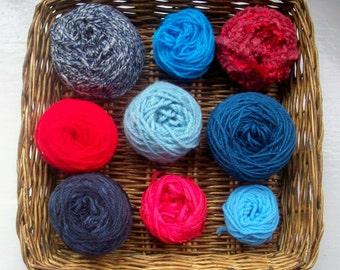 DESTASH- big grab bag assorted yarn 152g /5.4 ounces red blue