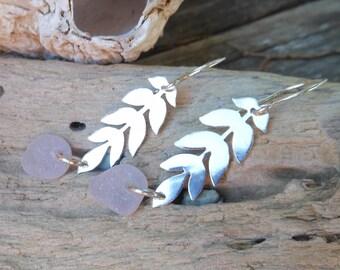 Light Lavender Sea Glass Vine Earrings