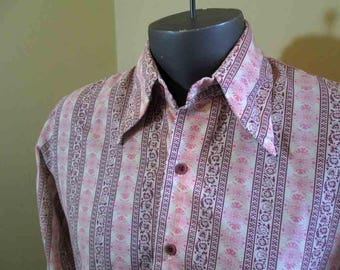 60s Floral Stripe Shirt Groovy Berry and Pink Print Mod Shirt 60s mens Mod Shirt Floral Print 60s Shirt M