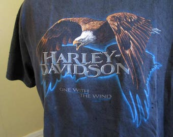 Black 1996 Harley Davidson vintage tshirt Eagle With the Wind 90s H D distressed worn tshirt Vancouver BC Totem Poles Snowy mountains XL