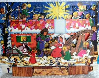 Vintage Cardboard Advent Calendar - Large Size with Sweet Vintage Images of A Child's Nativity Scene - Dimensional with Moving Parts