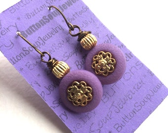 Purple and Gold Vintage Button Earrings