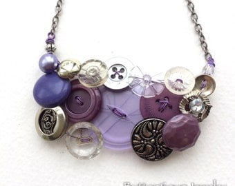 Fancy Long Button Jewelry Necklace in Purple and Silver Tones