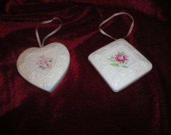 Vintage China Pomander Potpouri Sachet Ribbon Hanger Heart and Diamond