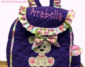 Pawsitively Adorable PUPPY Toddler Girl Backpack CUSTOM HANDMADe  Choose Your Fabrics for the Applique and Trim Personalization included