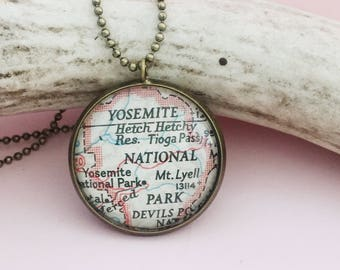 Yosemite National Park Map Necklace, Custom Vintage Location Pendant, Gift For a Hiker, Travel Souvenir, One of a Kind Atlas Jewelry