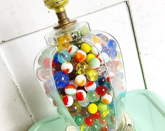 Losing My Marbles... Vintage Lamp Filled with Vintage Glass Marbles Instant Collection 375 plus Home Decor