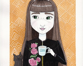 Girl and Tea with Black Cat Original Cat Folk Art Watercolor Painting