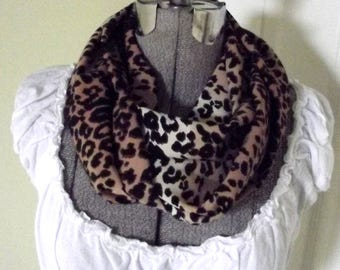 Handmade Infinity Scarf Soft Sheer Fabric Leopard Print Modern Neutral Animal Print