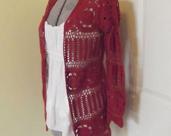 Vintage Crochet Cardigan Sweater Small Red Rust Garnet Airy Lace Hippie Retro Flower Power