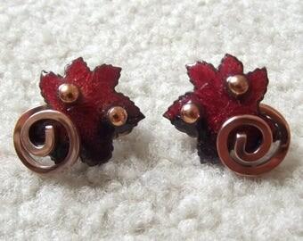 Vintage Signed Matisse Earrings/ Copper Enamel Earrings/ Modernist Jewelry/ Red Maple Leaf/ Clip back Earrings/ Mid Century 1940s 1950s