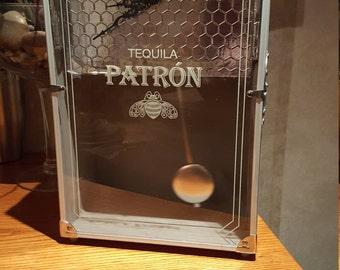 Silver Patron Tequila Box Clock with Pendulum, bar clock, novelty clock, gift for bar