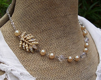 Vintage Pearl, Crystal & Rhinestone Necklace