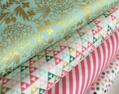 Gold fabric bundle, Mint and Gold Dress fabric, Modern Baby Quilt fabric, Pink Nursery fabric, Mint Gold decor, Bundle of 4- Choose the Cut